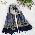 1 UNID 2016 Otoño Nuevas Mujeres de La Manera del Estilo Étnico de Lino y Viscosa Largas Borlas Bufanda Mujer Borlas Viscosa Chales Pashminas