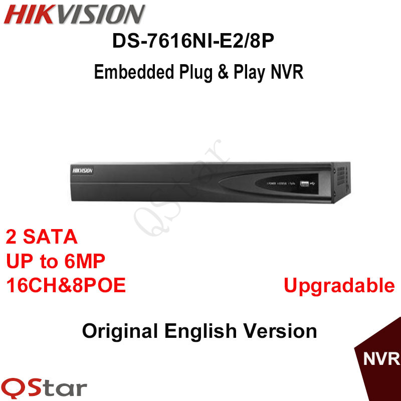 Hikvision Original English Version DS-7616NI-E2/8P With 8PoE 16CH Network Video Recorder NVR For IP Camera original english version nvr ds 7104ni sn p 4ch mini nvr 4ch poe network video recorder hd 1080p nvr work well with h 265 ipc
