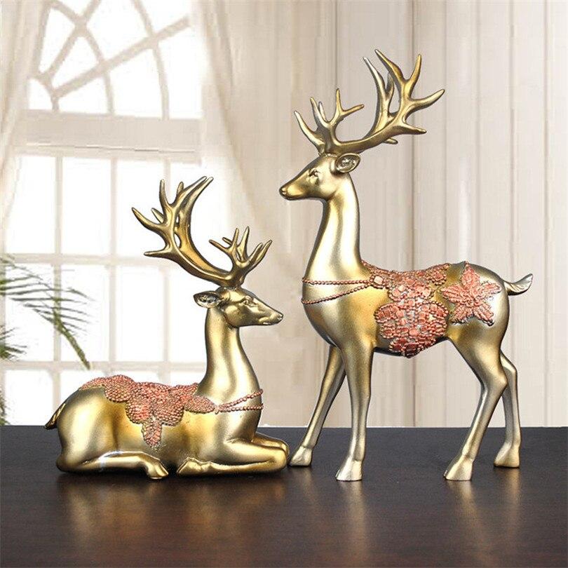 Un Couple de Sculptures de cerf Statues d'animaux pour la décoration salon chambre jardin maison cave à vin décor de bureau accessoires