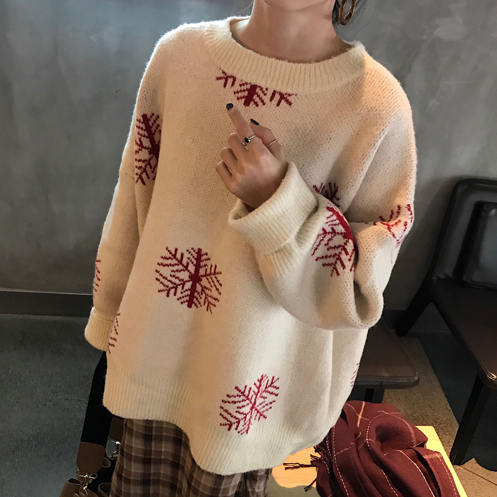 New Christmas Snowflake Sweater Knitted O-Neck Casual Loose Oversize Style Winter Tops Female Long Sleeve Warm Sweater Clothes