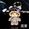 Dibujos animados monchichi llavero precioso colgante de la muñeca del embutido del Rhinestone cristalino de la cadena dominante llaveros para la mujer del encanto del bolso porte clef regalo