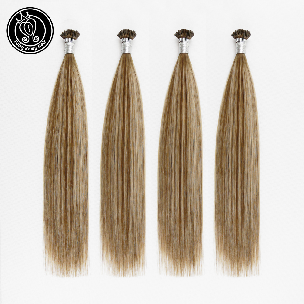 Fairy Remy Hair Fusion I Tip Hair Extension Human Hair Colorful Extensions Highlight Balayage Pre Bonded Remy Hair 0.8g/s 40g