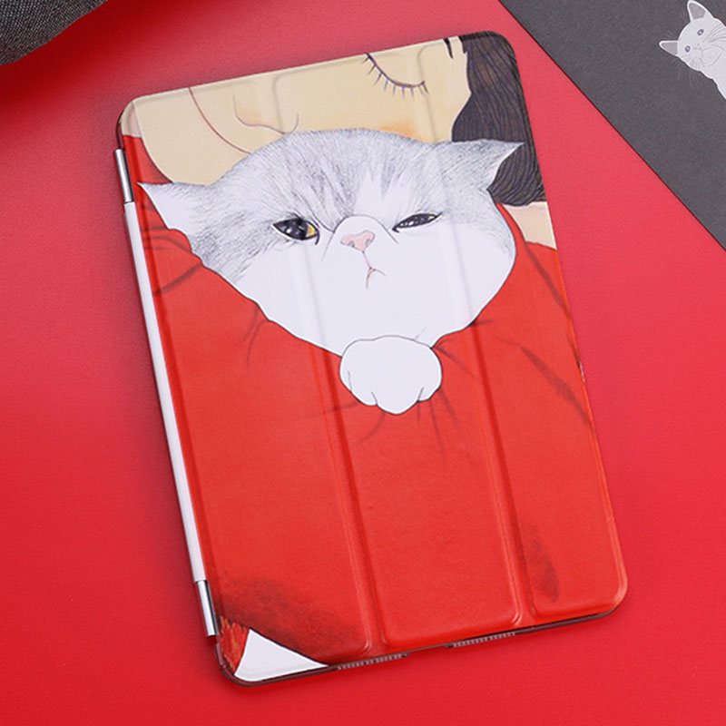 Case for Ipad Mini 4 Fashion lazy Cat Series Auto Sleep /Wake Up Flip PU Leather Case for Ipad Mini4 Smart Stand Cover