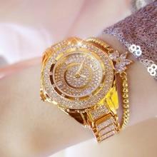 цена на Women Watches Luxury Brand Diamond Quartz Ladies Rose Gold Watch Stainless Steel Clock Dress Watch relogio feminino + Gift Box