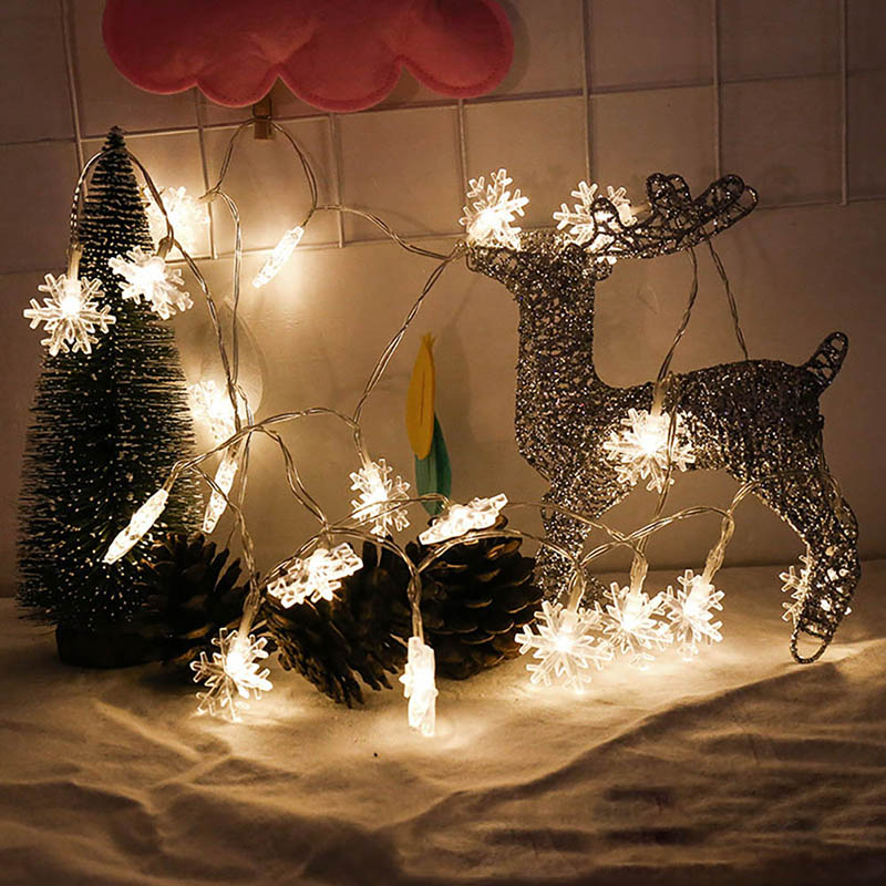 Christmas Lights Outdoor Decoration 2M 20LED Snowflake String Fairy Lightsnew Year Wedding Party Garland Light