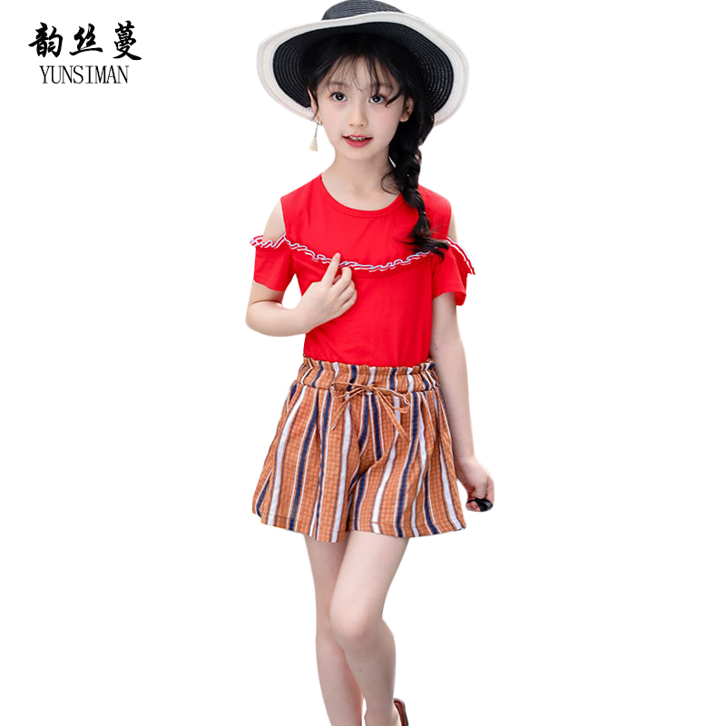 Baby Girl Clothes Suit Girls Red Off Shoulder T Shirt Stripe Shorts Children Kids Summer Clothing Two Pieces Sets 3 - 12 Y 50C1