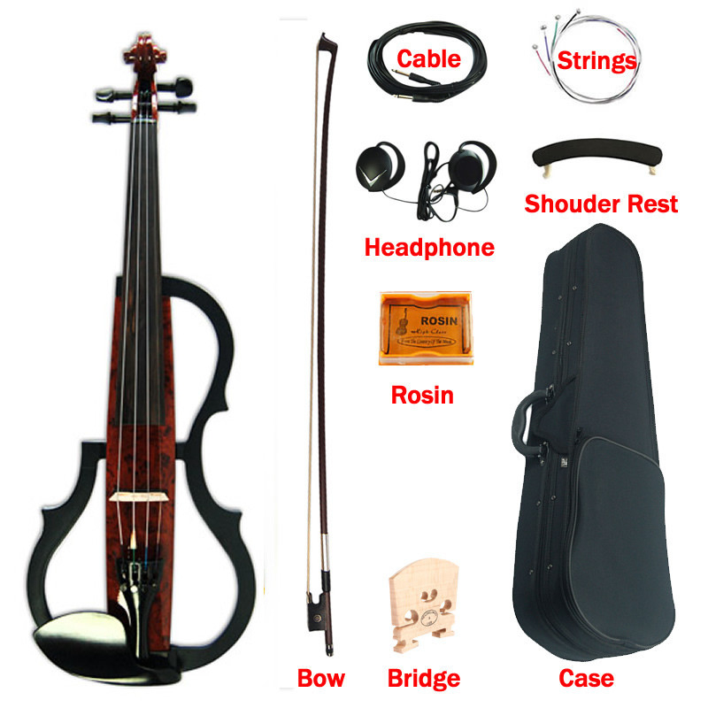 Горячая продажа 3 банд eq электрическая художественная скрипка полный размер 4/4 струны кофе твердые деревянные бесшумные скрипки с эбеновые крепления