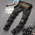 New mens  brand destroyed hole jeans straight  slim frayed denim  jean for men army design