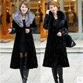 Женская шуба большой размер женская одежда новый свободные длинные пальто согреться зимой пальто лисий мех Подражали норковая шуба B066