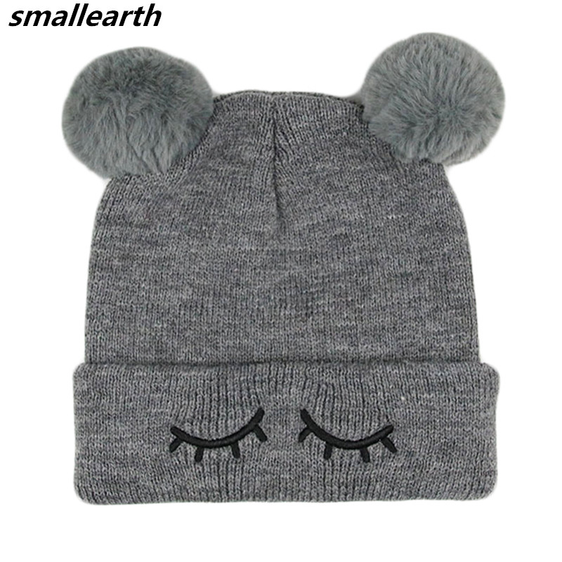 Autumn Winter Hat Warm Double Ball Crochet Knit Wool Hat Baby Hat Beanie Cap