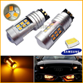 2pcs Amber  Error Free PWY24W PW24W LED Bulbs For Audi A3 A4 A5 Q3 VW MK7 Golf CC Front Turn Signal Lights,BMW F30 3 Series DRL