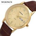 2017 woonun de primeras marcas de lujo relojes de oro hombres hombre reloj impermeable calendario reloj de cuarzo ultra delgado relojes a prueba de golpes para hombres