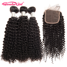 Remy Afro Kinky Curly Weave Human Hair Bundles With Closure 3 Bundles Brazilian Hair Weave With Closure Wonder girl No Tangle