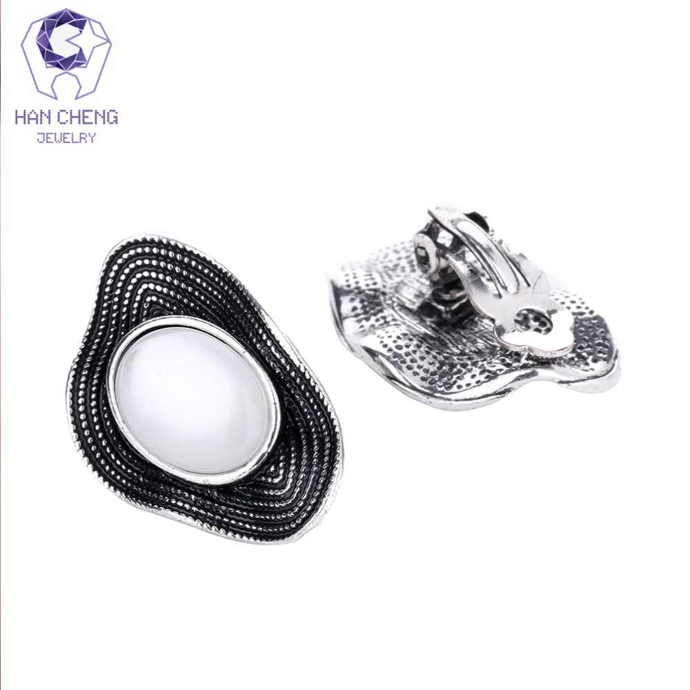 HanCheng New Fashion Vintage Silver oval Opal Stone Clip Earrings ear Clips Irregular Exaggeration Earrings For Women Brincos