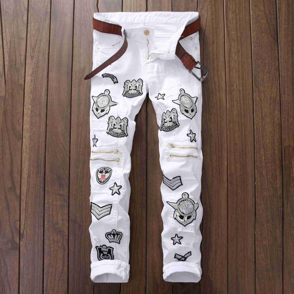#2765 White jeans Designer Men biker jeans Ankle zipper Fashion Hip hop jeans homme Straight Ripped jeans for men Skinny