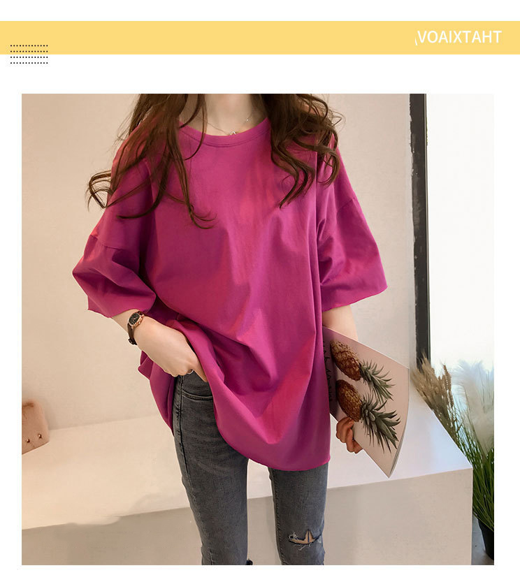 Candy Color Short Sleeve Loose T-Shirts Girls Summer 19 New Cool O-Neck Boyfriend Student Women T-Shirt Lady Tops Plus Size 6