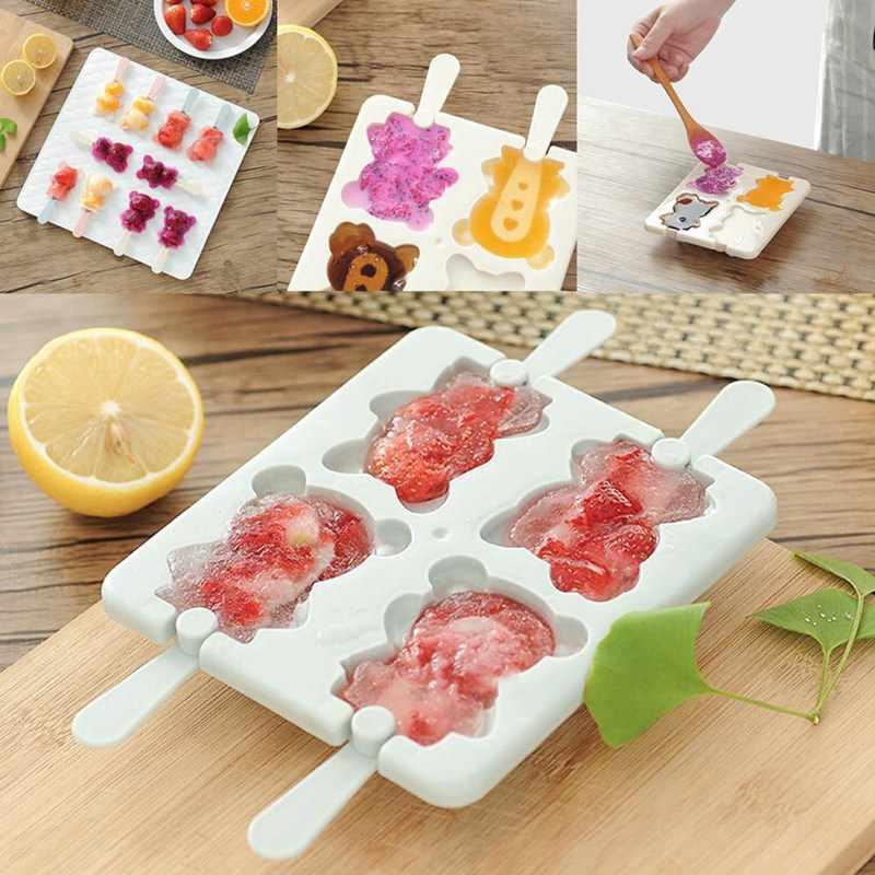 Милая мультяшная форма для изготовления мороженого 4 отверстия медведь шаблон лоток для льда Форма для мороженого Кухня DIY Инструменты практичный
