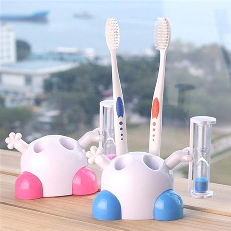 Image 3 - 2pcs Cute Creative Hourglass Timing Toothbrush Holder Beautiful Boxed Toothbrush Rack For Children Bathroom (Random Color)-in Toothbrush & Toothpaste Holders from Home & Garden