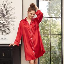 Nightdress Women Sleepwear Home Female Sleep Lounge Sexy fashion homewear Satin long sleeve