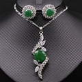 Fashion AAA CZ Jewelry White Gold Plated Green Cubic Zirconia Women Pendant Necklace Earrings Set For Party Dresses