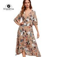 Eileen Elisa Runway Maxi Long Dress 2017 High Quality Bohemian Dress With Sexy V Neck Long Maix Dress Women