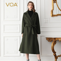 VOA Cashmere Coats Women Cool Army Green Belt Wrap Wool Overcoat Grey Outerwear Red casaco feminino Winter Clothes Ladies SA031