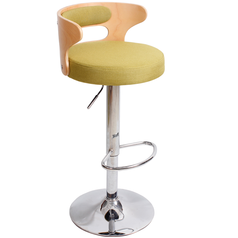 Simple Style Multifunction Bar Chair With Backrest And Footrest Lifted Rotated Front Desk High Stool Non-slip Commercial Chair