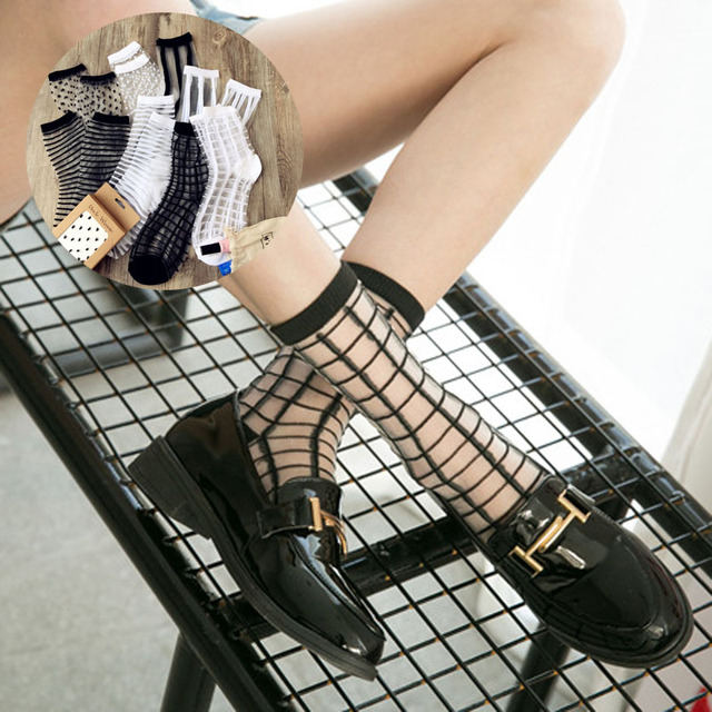 b29dde757 Transparent Socks for Women Crystal Thin Socks Fit High heels White Black  Silk Summer Stripe Plaid