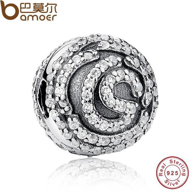Nueva Auténtico 925 Shimmering Rose Clip Charm Pulsera Apta y Collar con Clear CZ Jewelry Making PAS075