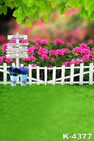 5x7ft Customize Vinyl Background Cloth Green Garden Beauty Flowers