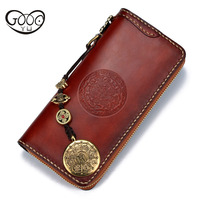 Handmade flour long wallet top cowhide wallet snow lion large volume by the book deduction tanned leather geometric pattern bag