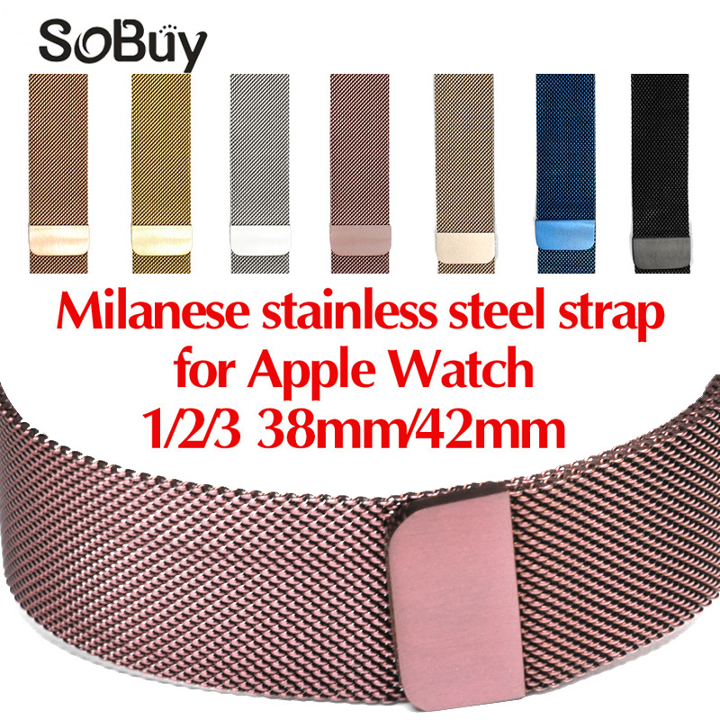 Lxsmart for apple watch 1/2/3 stainless steel bracelet 42mm Milan loop wristband 38mm band magnetic watch strap  iwatch bands wristband silicone bands for apple watch 42mm sport strap replacement for iwatch band 38mm classic stainless steel buckle clock