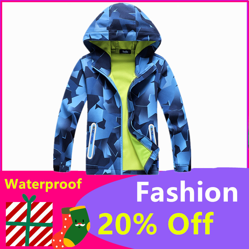 Children Outdoor Jackets Coats Boys Composite Soft Shell Waterproof Breathable Hooded Jacket Kids Cotton Fashion Jackets-in Jackets & Coats from Mother & Kids