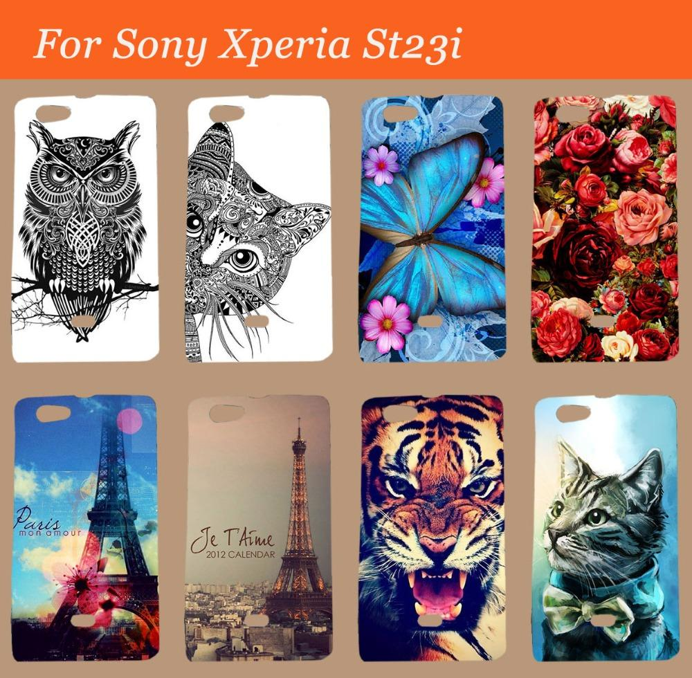 For Sony Xperia Miro st23i Case Cover,Painting Colored tiger owl rose hard pc skin shell hood cover for Sony st23i case