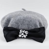 2015 New Arrive Winter Wool Beret Hat With Beautiful Rhinestone Diamond Decoration Black Grey White Beige