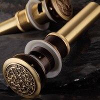 New Antique Brass Chinese Dragon Style Bathroom Basin Waste Pop Up Waste Vanity Vessel Sink Drain