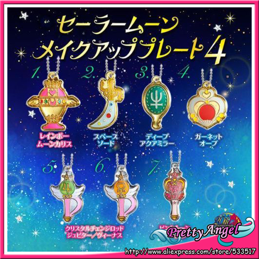 Original BANDAI Sailor Moon 20th Anniversary Gashapon Die-cast Charm Stick Wand Meatl Part 4 key chain Set of 7pcs sailor moon stained crystal light gashapon set of 4 japan anime mascot 100% original