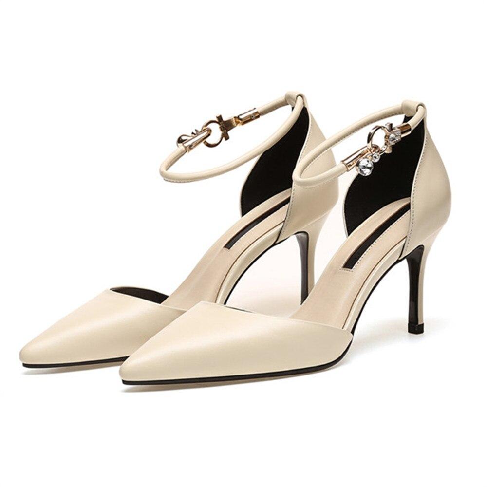 Haute Boucle Pointu Mode Bout Véritable Femmes Printemps Automne Talon Naturel Noir Talons Chaussures Pompes Élégant beige En Nouvelles Asumer Cuir 8qawCC