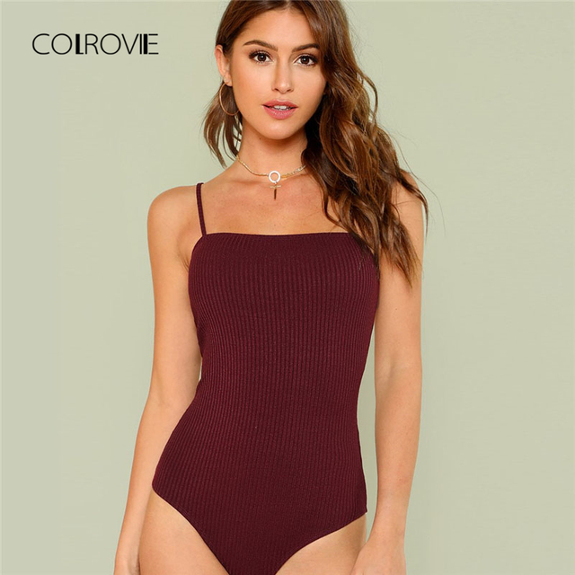 93978f5ed8 COLROVIE Black Knit Cami Sexy Bodysuit 2018 New Summer Spaghetti Strap  Plain Clothing Burgundy Holiday Skinny
