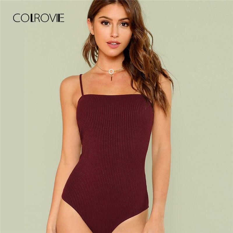 COLROVIE Black Knit Cami Sexy Bodysuit 2018 New Summer Spaghetti Strap Plain Clothing Burgundy Holiday Skinny Women Bodysuit