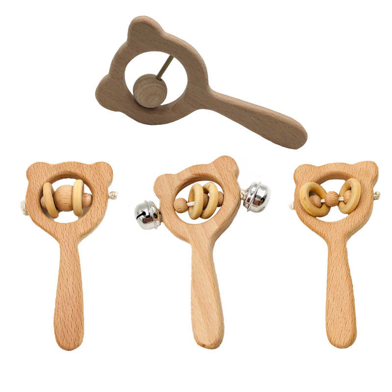 2018 New Cute 1pc Wooden Beads Bar Waldorf Toy Hand Grip Bell Rattle Beech Wooden Bell Baby Teether For Baby  Teething Toy