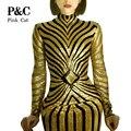 Женщины Длинные Повязки Геометрическая Серебристыми Блестками Dress Длинным Рукавом Midi Dress Женщин Сексуальные Платья Партии Ночной Клуб Dress