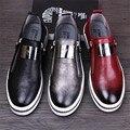 2017 Новые Прибытия Мужская Повседневная Обувь Мода Натуральной Кожи Человека мокасины Мокасины Поскользнуться на Квартиры Черный Красный Щепка 3 цвета