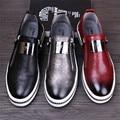 2017 Nuevos Llegan Para Hombre Zapatos Casuales de La Moda de Hombre de Cuero Genuino mocasines Mocasines Slip on Pisos de Los Hombres Negro Rojo Astilla 3 colores