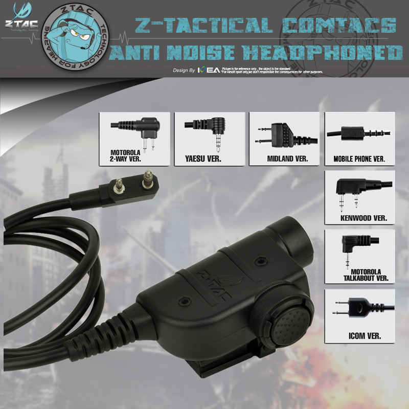 Z-Tactial PTT Headset Z125 Element Airsoft Metal Clip On The Back For Carrying On Vest/strap Walkie Talkie Accessories