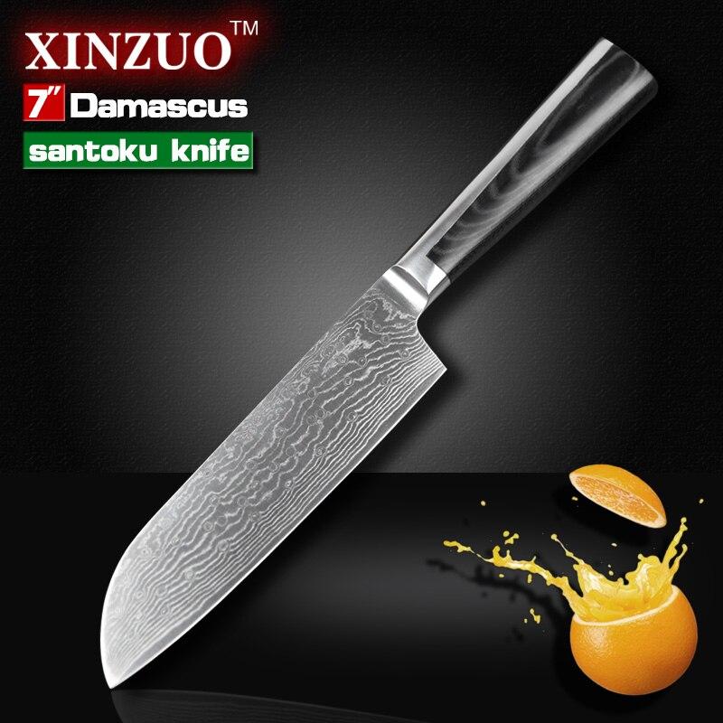 7 inch santoku font b knife b font Japanese VG10 73 layers Damascus steel kitchen font