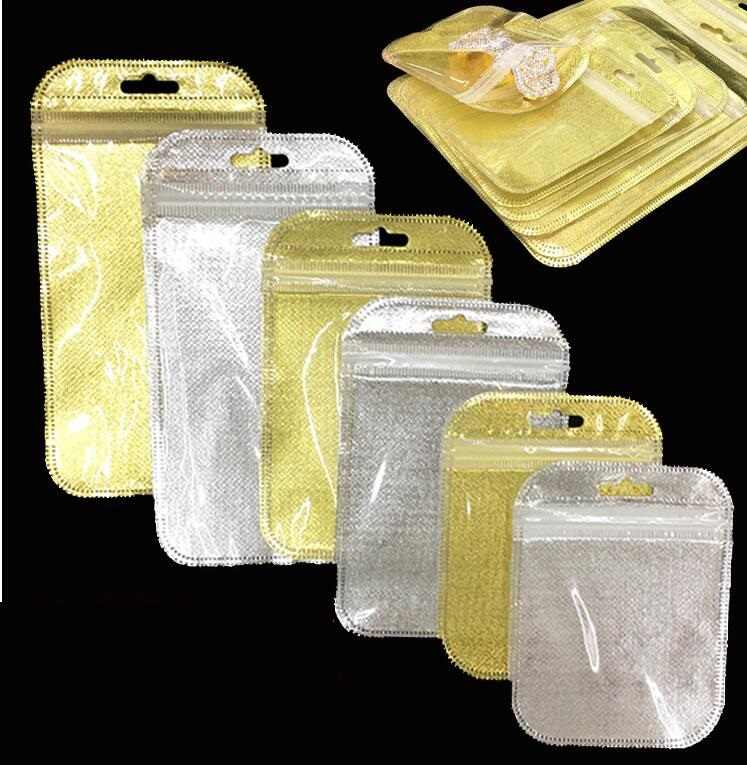50pcs Small Size Mini Zip Lock Bag Plastic PE Gold Silver Self Sealing Storage Bag Jewelry Packing Pouch Clear Resealable Bags