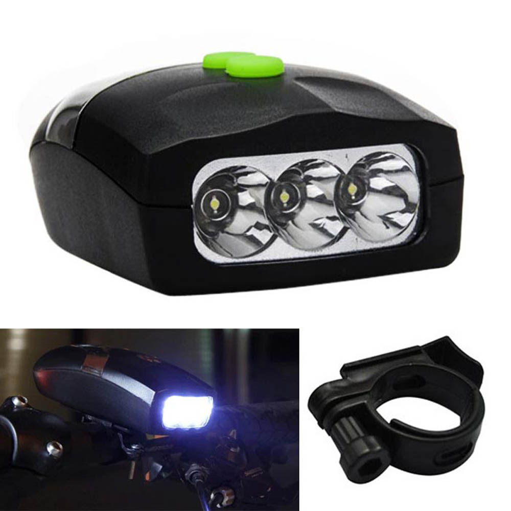 Bicycle Bike 3 White LED Front Light Headlight Electronic Horn Bell Waterproof
