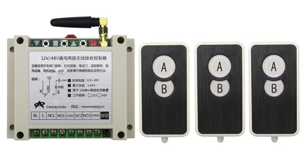 ФОТО DC12V 24V 36V 48V 10A 2CH RF Wireless Remote Control Switch System 3 transmitter and 1 receiver universal gate remote control