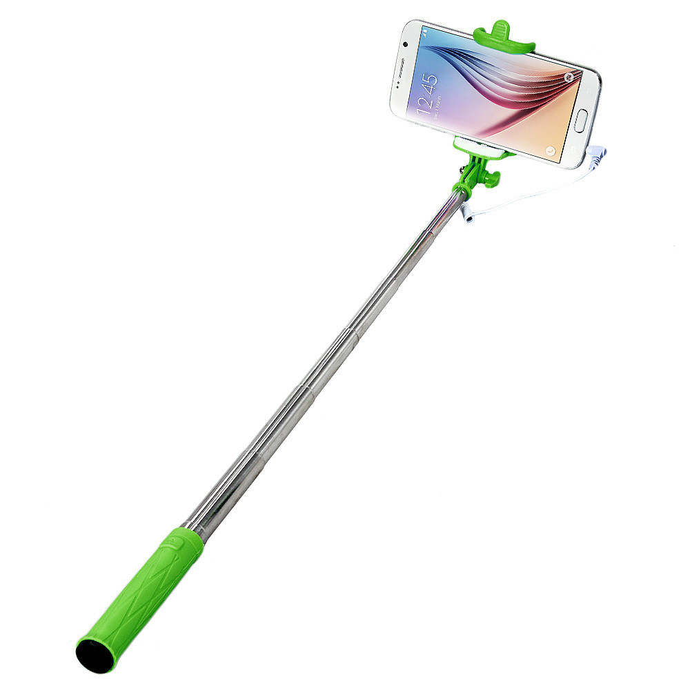 Malloom 2017 Mini Wired Selfie Stick Handheld Monopod Tripod Extendable Camera for IOS Android Mobile phone Selfi stik Green